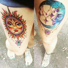 """Beautiful Sun and Moon tattoos. These are thigh tattoos done by Frieda Masters at Queen Anne's Revenge in Virginia. Some of my favorite work! Psalm 148:3 """"Praise ye him, sun and moon: praise him, all ye stars of light."""""""