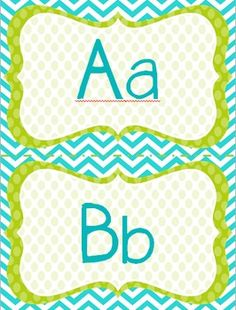 Word Wall Headers: Blue, Green, & White Polka Dots!  So cute and matches my classroom decor!!