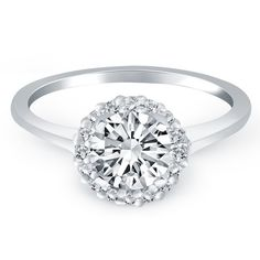 14K White Gold Diamond Halo Cathedral Engagement Ring