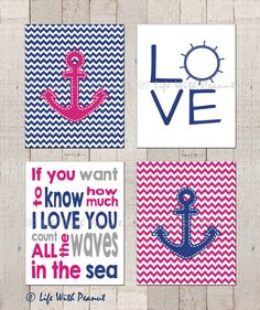 Nautical Art Print, Wall Art -If You Want to Know How Much I Love You -Baby Girl or Baby Boy -Blue and Pink Nursery -Instant Download 8x10 on Etsy, $15.00