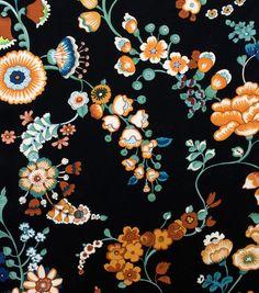 Speranza in Black Sage (Alexander Henry House Designer - Bella Strada) Malibu Los Angeles, Sam Maloof, Retro Fabric, Vintage Fabrics, Textures Patterns, Print Patterns, Botanical Prints, Floral Prints, Black Background Pattern
