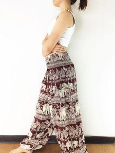 Women Trouser Pants Yoga Pants Aladdin Pants Maxi Pants Baggy Pants Gypsy Pants Rayon Clothing Drop Trouser Elephant Red Brown (TS138)