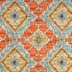 Sundance Tangerine Orange Geometric Cotton Drapery Fabric by P Kaufmann Swatch - SW51914-Swatch - Fabric By The Yard At Discount Prices