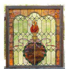 Sharing is caring!  G14083 - Antique Colonial Revival Stained Glass Window #https://www.pinterest.com/munlimited/