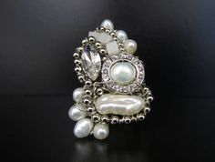 Huge Pearl Ring with White Pearls & Rhinestones- Avant Garde Jewelry by Sharona Nissan
