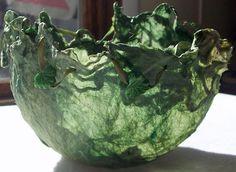 """Fiber-Art-Addict (Kim Young): Silk """"Paper"""" Bowls -- Leaf Motif, beautiful!"""