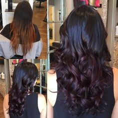 from - From a grown out balayage to a gorgeous deep plum 💜 Lilac Hair, Burgundy Hair Ombre, Deep Purple Hair, Look 2018, Hair Shades, Hair Color And Cut, Great Hair, Hair Highlights, Balayage Hair