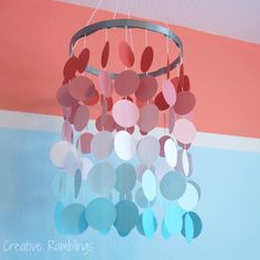 DIY paper circle mobile for a little girl's nursery. Great idea and so easy to make! Aqua Nursery, Girl Nursery, Nursery Decor, Bedroom Decor, Diy Paper, Paper Crafts, Circle Crafts, Paper Mobile, Do It Yourself Projects