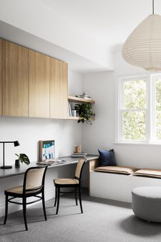 Real reno: Melbourne Bayside bungalow's modern makeover - The Interiors Addict Home Office Space, Home Office Design, Home Office Decor, Home Decor, Office Nook, Office Set, Office Chic, Best Office, Bungalow Renovation