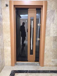 VANDOOR ÇELİK KAPI 0554 202 70 41 Modern Wooden Doors, Custom Wood Doors, Unique Front Doors, Modern Front Door, Main Entrance Door, Main Door, Glass Design, Door Design, Storefront Doors
