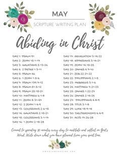 May Scripture Writing Plan - Abiding in Christ — Whole Magazine - Bible Reading Plan Prayers and how to pray Bible Study Plans, Bible Plan, Daily Bible Reading Plan, Scripture Reading, Scripture Study, Scripture Journal, Scripture Writing Plan December, Forgiveness Bible Study, Family Scripture
