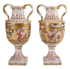 Pair Capodimonte Gilt-Decorated  Porcelain Urns