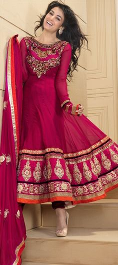 95785: Pink and Majenta color family semi-stiched Anarkali Suits. Beautiful.