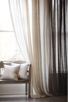 Cordoba Collection Sheer Linen Drapery.100% Linen Drapery.Sheer Linen Curtains.Natural colour Sheer Linen Curtains.