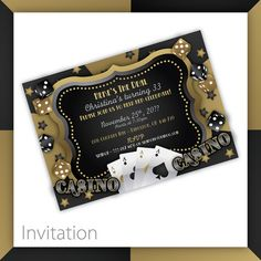 Casino Party Invitations . PRINTABLE . Casino Wow - Gold ~ $20.00 ~ Casino Invitation, Casino Invite, Casino Party, Casino Night, Casino Party Invitation, Casino Party Invite, Casino Night Invite, Casino Night Invitation, Gold Casino Night, Black and Gold Party, Casino Theme Party, Damask Casino, Casino Birthday, Casino Retirement, casino fun, 30th Birthday, 50th Birthday, 60th Birthday ~ https://www.etsy.com/listing/206632029 ~ #Casinoparty #Casinoinvitation #casinoinvite #casinoideas