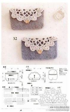Sen Department of small hand bag Crochet Video, Crochet Diagram, Crochet Chart, Crochet Stitches, Knit Crochet, Crochet Wallet, Crochet Coin Purse, Crochet Purses, Crochet Bags