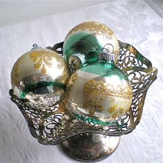 Your place to buy and sell all things handmade Silver Ornaments, Vintage Ornaments, Turquoise Christmas, Mercury Glass, Christmas Inspiration, Aqua Blue, Christmas Bulbs, Projects To Try, Glitter
