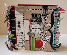 Tutorials designed by Emma Trout: Fancy Pants chipboard school memory book