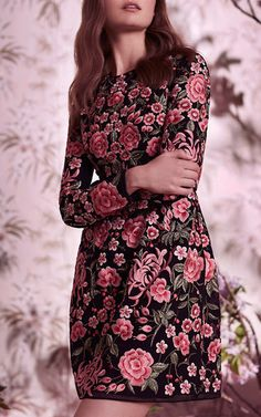 Rose Embroidered Mini Dress by NEEDLE & THREAD for Preorder on Moda Operandi