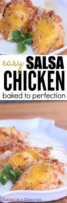 Easy Salsa Chicken recipe. This Healthy Chicken Salsa Recipe is a super easy salsa chicken dinner. Now I topped mine with cheese, but if you want it healthier then you can top with low fat cheese or cut the cheese in half. All you need are a handful of ingredients and a little bit of effort and voila
