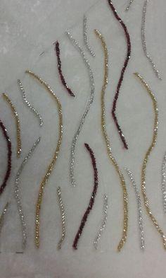 Twirls embroidery on salwar suit with cut beads Zardozi Embroidery, Hand Embroidery Dress, Kurti Embroidery Design, Hand Embroidery Videos, Bead Embroidery Patterns, Couture Embroidery, Embroidery Fashion, Silk Ribbon Embroidery, Embroidery Jewelry