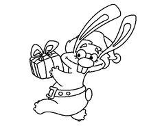 Dibujo de Conejo con regalo para colorear
