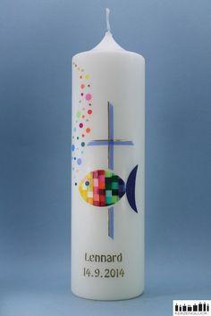 Taufkerzen - Taufkerze Mosaikfisch-Regenbogen mit Kreuz-gold  - ein Designerstück von mein-kerzenglueck bei DaWanda