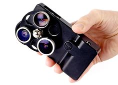 Photojojo iPhone Case + Lenses (scroll down past the wretched header of the assbag website that puts the main content below the fold).