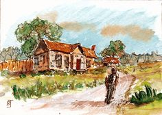 ACEO Original Miniature Watercolor Rural House Lane Landscape Painting Art  BRJ #Miniature