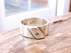 Bridal Wedding Band Sterling Silver 925 White Quartz Mexico Taxco Size 6.5 Ring #Taxco #WithGemstones #engaged #engagement #marryme #roundcut #ring #ido #weddingring #bridal