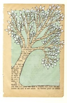 """Tree"" by carambatack - mixed media illustration . Pencil,gel pen, ink, acrylic paint and marker drawing on a vintage book page from 1892."