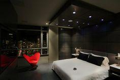 Dormitorios modernos en negro, llenos de luz