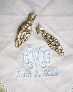 For her Tuscan wedding, bride Lauren carried two embroidered handkerchiefs: one belonging to her grandmother and another from a longtime friend, which had a monogram of her initials and the wedding date in blue. The Wedding Date, Wedding Ring Box, Plan Your Wedding, Wedding Bride, Dream Wedding, Wedding Day Checklist, Budget Wedding, Wedding Ideas, Wedding Planner