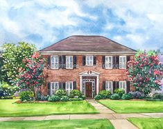 House illustration: Unique House Portrait Illustration Personalized Watercolor. #illustration #houseillustration #art #artwork House Sketch, House Drawing, Watercolor Portraits, Watercolor Paintings, Watercolour, Moving Gifts, Photo To Art, House Illustration, Art Mural