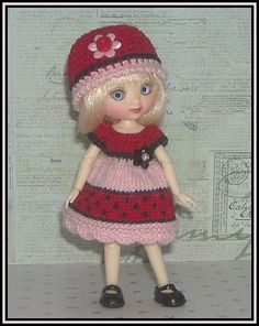 Amelia Thimble Dolls by Wilde Imagination Red and Pink Color Block Dress and Hat by JCsTinyTreasures, $21.00