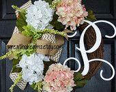 Pale Pink & White Hydrangea Grapevine Wreath with Chevron Burlap. Year-Round Wreath. Housewarming, Mother's Day. Monogram Wreath.