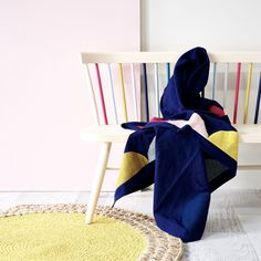 Navy Linen Blanket with Multicolour Embroidered Petal Detail