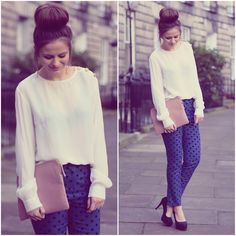 these pants are adorable. shirt is so cute. and hair is fabulous.