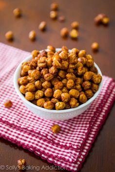 How to make Crunchy Cinnamon-Sugar Roasted Chickpeas. Healthy and addicting! sallysbakingaddiction.com
