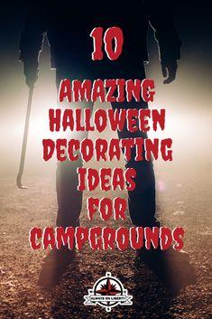10 Spooky Halloween RV Decorating Ideas - Always On Liberty Samhain Halloween, Spooky Halloween, Halloween Themes, Halloween Wreaths, Halloween Camping Decorations, Tent Decorations, Campsite Decorating, Decorating Ideas, Family Camping
