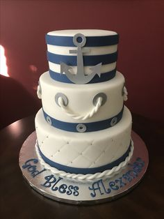 Nautical Baptism Cake Nautical Baptism, Baby Baptism, Nautical Theme, Christening, Cross Cakes, Milan, Desserts, Food, Tailgate Desserts