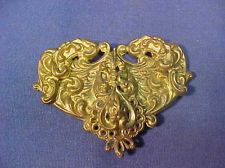 19thc VICTORIAN Stamped BRASS ORNATE Womans HEART Shaped BELT BUCKLE