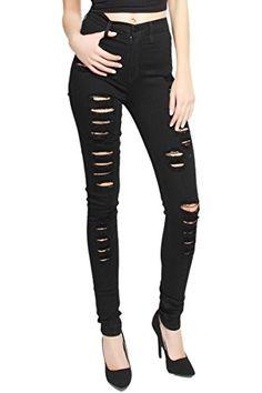 8850ed3f8c86 TheMogan Womens High Waist Distressed Destructed Ripped Skinny Jeans Black  1      AMAZON BEST