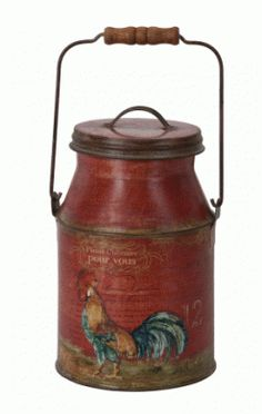 RED ROOSTER MILK CAN-ROOSTER TINS, ROOSTER MILK CANS. $31.99
