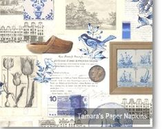 Crafting Paper 4 Vintage Table Paper Napkins For Decoupage Lunch Decopatch Craft Blue Holland & Garden Paper Napkins For Decoupage, Decoupage Vintage, Shabby Chic Napkins, Angel Flowers, Souvenir Store, Vintage Table, Holland, Vintage World Maps, Card Making