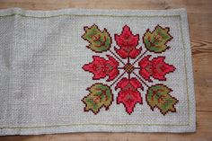 Beautiful leaves cross stitch embroidered tablecloth in good condition. Spotless. The size is: 28 x 10  The material is linen, cottonthread. Iallso