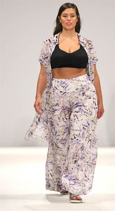 LONDON, ENGLAND - SEPTEMBER 16:  First plus-size show hits London Fashion Week! A model walks the runway at The Design Collective For Evans show during London Fashion Week Spring Summer 2015 at Fas...