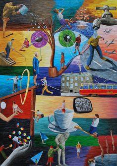 "Albin Talik ""Boredom"" 100X70 cm paper and glue"
