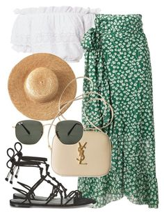 Sem título #2397 by mariandradde on Polyvore featuring LoveShackFancy, Ganni, Rebecca Minkoff, Yves Saint Laurent and Ray-Ban