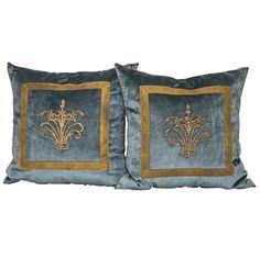 1stdibs | Antique Ottoman Empire Gold Metallic Embroidery B. VIZ Pillows